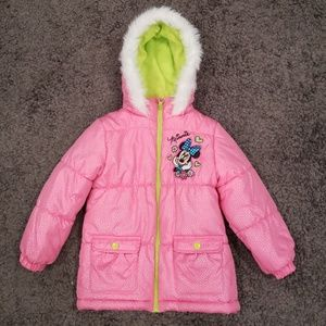 DISNEY MINNIE MOUSE SNOW JACKET 4T PINK GIRLS